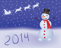 New Year background. New Year 2014 background with snowman Stock Image