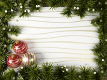New year background. New year frame with christmas tree and toys Stock Photography