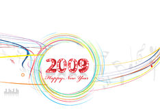 New Year background. 2009 wave line element for music note design - New Year background Stock Photo