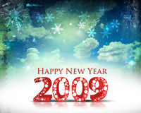 New Year background. Retro image of cloudy sky with 2009 wave element for design - New Year background Stock Photography