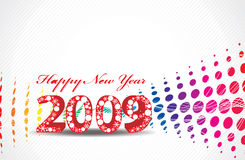 New Year background. 2009 wave halftone new year composition.Vector illustration Royalty Free Stock Photo