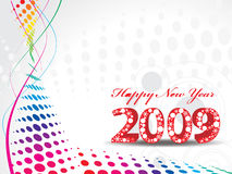 New Year background. 2009 wave halftone new year composition.Vector illustration Stock Photography