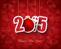 2015 New year background. With ball and candy cane tags Stock Illustration