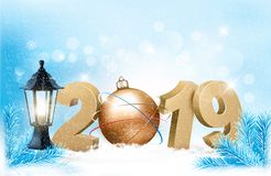 New Year background with a 2019 and ball. royalty free illustration