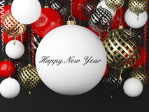 New Year background with balls and scrolls. New Year background with golden, red and white balls and scrolls vector illustration