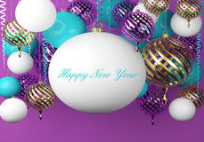 New Year background with balls and scrolls. New Year background with golden, blue and white balls and scrolls royalty free illustration