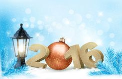 New Year background with a 2016 and a bauble. Vector Vector Illustration