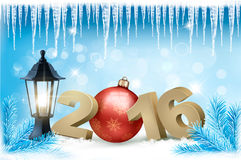 New Year background with a 2016 and a bauble. Vector Royalty Free Stock Image