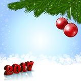 New Year 2017 background with baubles. An editable vector illustration of red baubles and New 2017 Year numbers Stock Images