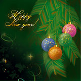 New year background. Beautiful Christmas toys and branches of fir-trees on a green background royalty free illustration