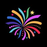 New year background. Beautiful colorful simple abstract firework black background Stock Image