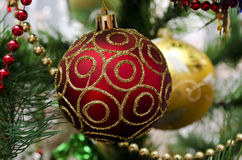 New Year background - beautiful toys on a Christmas tree Stock Images