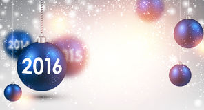 2016 New Year background. With blue balls. Vector Illustration Stock Photography