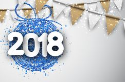 2018 New Year background with flags. 2018 New Year background with blue Christmas ball and flags. Vector illustration Stock Photo
