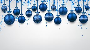 New Year background with Christmas balls. New Year background with blue Christmas balls and confetti. Vector illustration Stock Photo