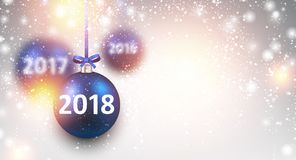 Shining 2018 New Year background. 2018 New Year background with blue Christmas balls. Vector illustration Royalty Free Stock Image