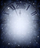 2016 New Year background. 2016 New Year blue background with clock. Vector illustration Royalty Free Stock Photography