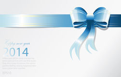 New Year 2014 background. Blue Ribbon background for New year card Royalty Free Stock Photography
