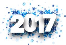 2017 New Year background. 2017 New Year background with blue snowflakes. Vector paper illustration vector illustration