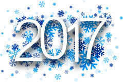 2017 New Year background. 2017 New Year background with blue snowflakes. Vector paper illustration royalty free illustration