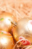 New year background with boll and strow in gold stock image