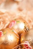 New year background with boll and strow in gold royalty free stock images