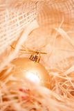 New year  background with boll and strow in gold Stock Images
