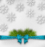 New Year background with bow ribbon and fir branches Stock Photo