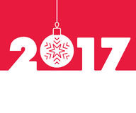 New Year 2017 background. Calendar design typography vector illustration. Outline style number with christmas ball and snowflake. Greeting card design Royalty Free Stock Photos