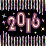 New year 2016 background with chains of vivid colored confetti. And colored stars on black background. Decoration for New year celebration party stock illustration