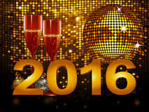 2016 New Year background with champagne glass and disco ball. 2016 New Year Celebration Background with Champagne Glasses and Disco Ball Royalty Free Stock Images