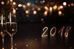 New year 2018 background with champagne. And golden bokeh Stock Photos