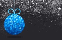 New Year background with Christmas ball. New Year black background with blue Christmas ball. Vector illustration Royalty Free Stock Image