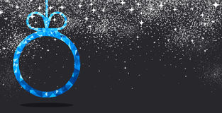 New Year background with Christmas ball. New Year black background with blue Christmas ball. Vector illustration Royalty Free Stock Photography