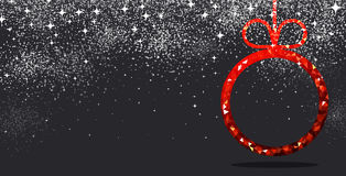 New Year background with Christmas ball. New Year black background with red Christmas ball. Vector illustration Stock Photos