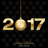 New Year Background 2017. Christmas ball and text on black background vector illustration