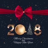 2018 New Year Background with Christmas Ball. Vector Illustration. EPS10 Royalty Free Stock Photography