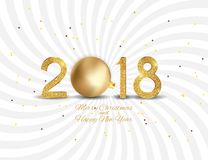 2018 New Year Background with Christmas Ball. Vector Illustration. EPS10 Stock Image