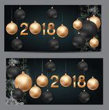 2018 New Year Background with Christmas Ball. Vector Illustration. EPS10n Stock Image