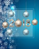 2018 New Year Background with Christmas Ball. Vector Illustration. EPS10n Stock Photos