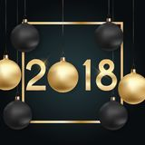 2018 New Year Background with Christmas Ball. Vector Illustration. EPS10n Royalty Free Stock Photos