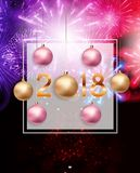 2018 New Year Background with Christmas Ball. Vector Illustration. EPS10n Stock Photo