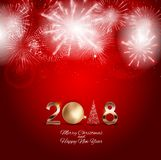 2018 New Year Background with Christmas Ball. Vector Illustration. EPS10 Royalty Free Stock Photo