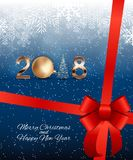 2018 New Year Background with Christmas Ball. Vector Illustration. EPS10 Stock Photography