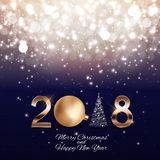 2018 New Year Background with Christmas Ball. Vector Illustration. EPS10 Stock Images
