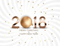 2018 New Year Background with Christmas Ball. Vector Illustration. EPS10 Royalty Free Stock Photos