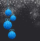 New Year background with Christmas balls. New Year black background with blue Christmas balls. Vector illustration Royalty Free Stock Photography