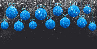 New Year background with Christmas balls. New Year black background with blue Christmas balls. Vector illustration Stock Images