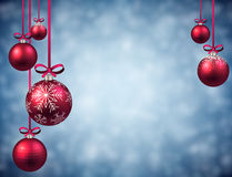 New Year background with Christmas balls. New Year blue background with pink Christmas balls. Vector illustration Royalty Free Stock Image