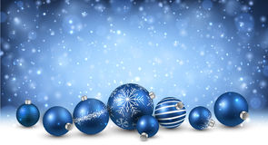 New Year background with Christmas balls. New Year background with blue Christmas balls. Vector illustration Royalty Free Stock Image